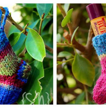 Christmas Stocking Lip Balm Cozy Free Knitting Pattern
