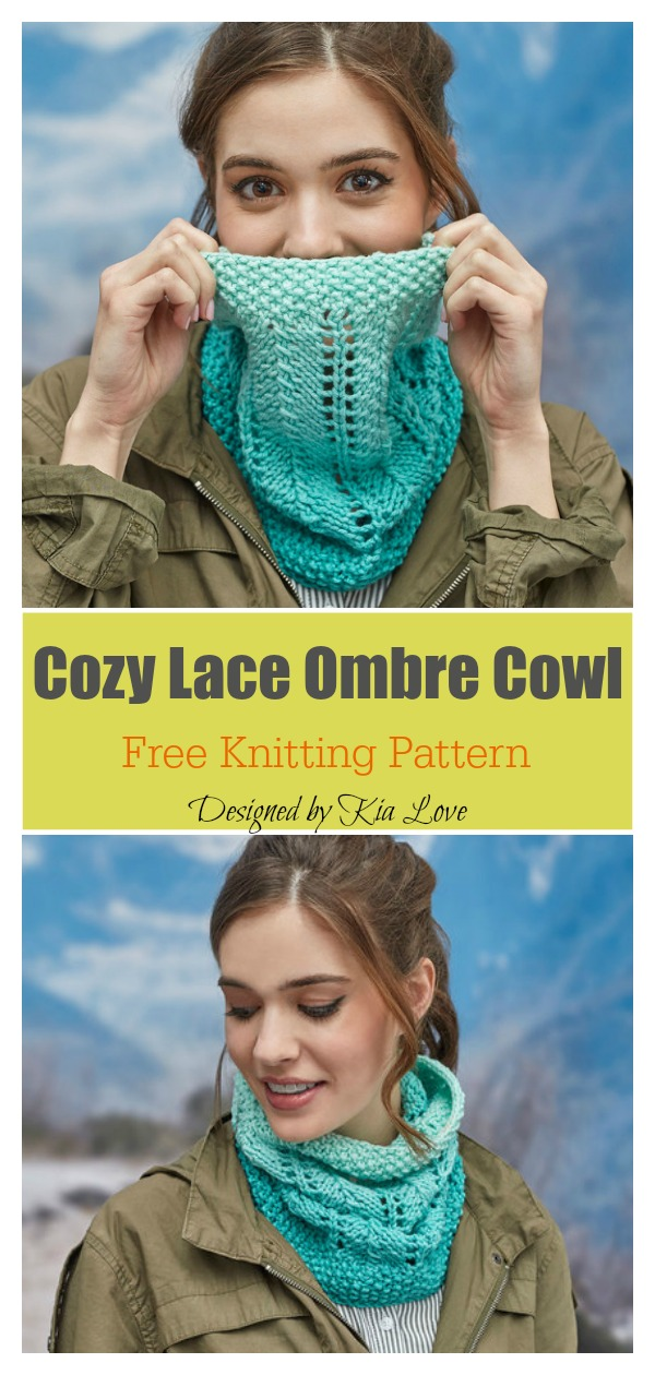 Cozy Lace Ombre Cowl Free Knitting Pattern