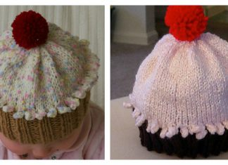 Cupcake Hat Free knitting Pattern