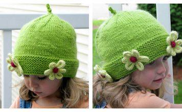 Daisy Beanie Hat Free Knitting Pattern