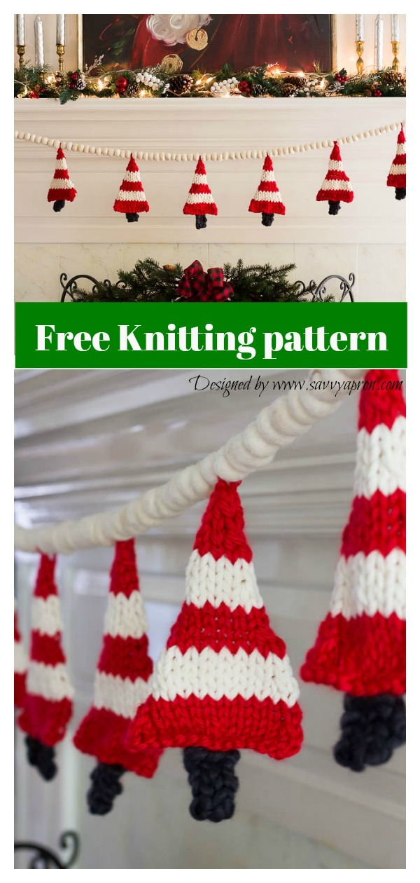 Easy Christmas Tree Banner Free Knitting pattern