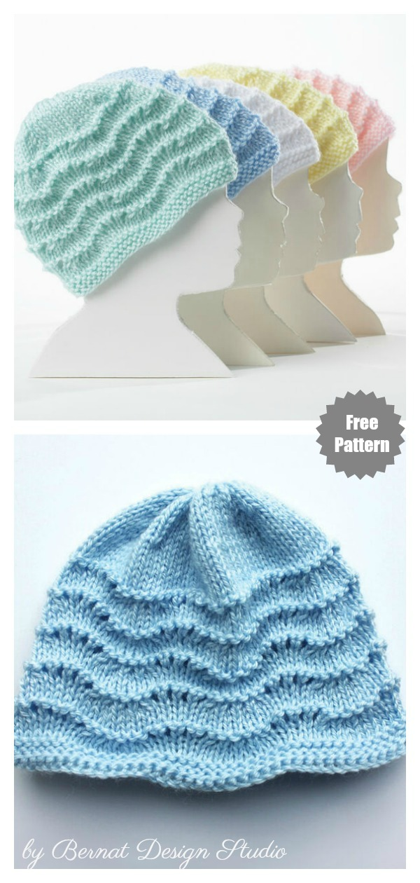 Feather and Fan Baby Hat Free Knitting Pattern