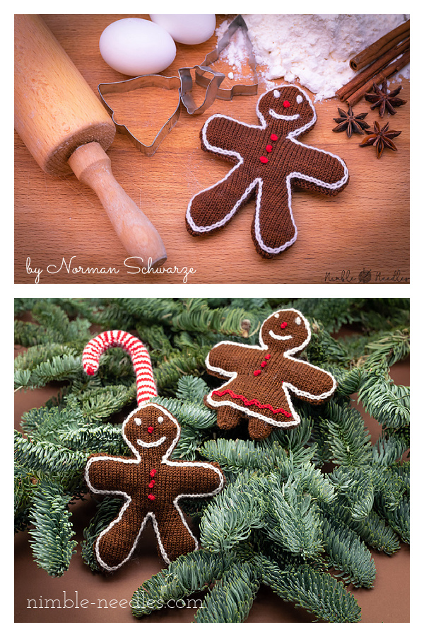 Gingerbread Man and Woman Free Knitting Pattern