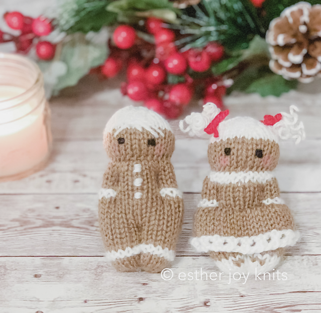 Mini Gingerbread Friends Free Knitting Pattern