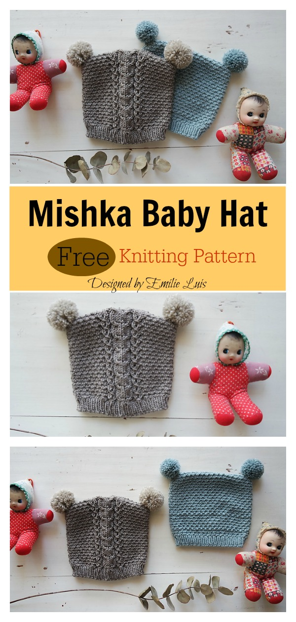 Mishka Baby Hat Free Knitting Pattern