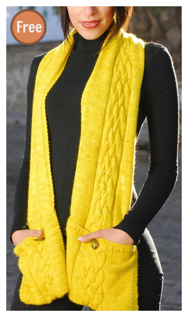 Pocketed Reader Scarf Free Knitting Pattern
