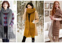 Pocketed Scarf Free Knitting Pattern