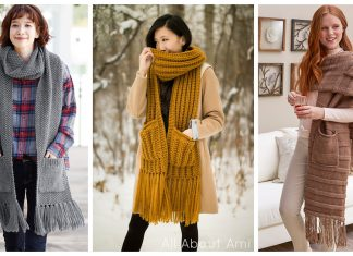 Pocketed Scarf Free Knitting Pattern