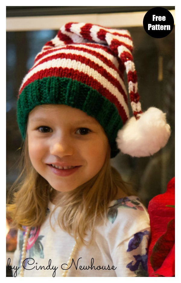 Santa's Helper Stocking Hat Free Knitting Pattern