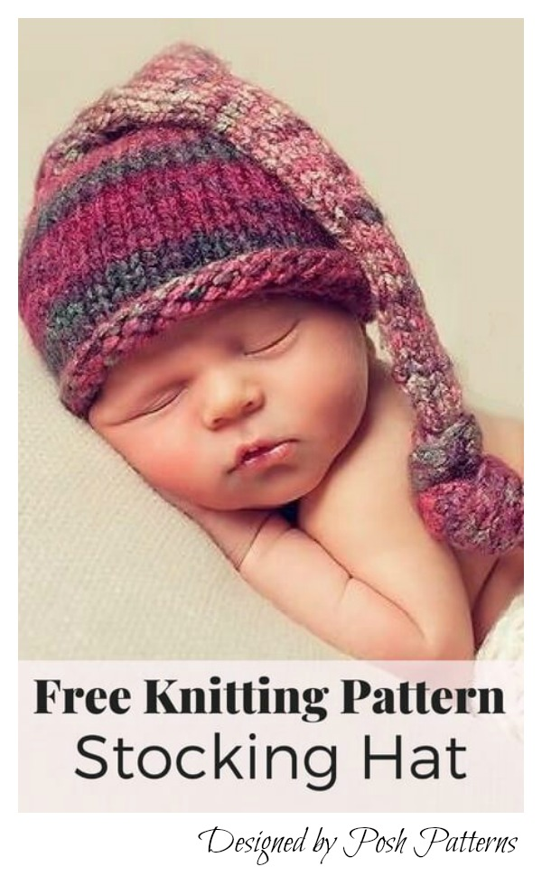 Stocking Baby Hat Free Knitting Pattern