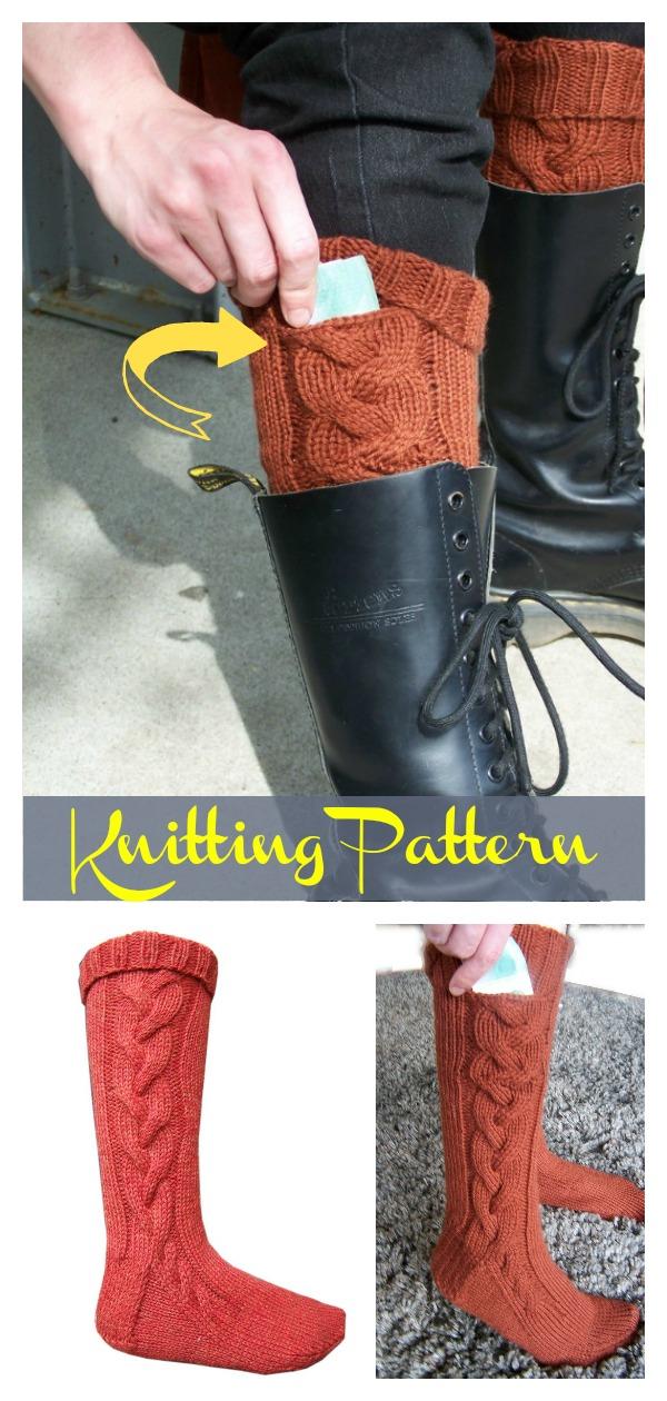 Subway Boot Socks With Pocket Knitting Pattern