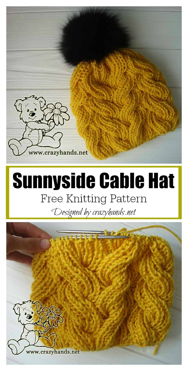 Sunnyside Cable Hat Free Knitting Pattern