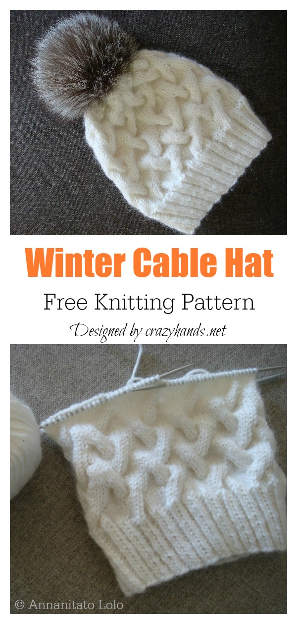 Winter Cable Hat Free Knitting Pattern