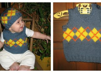 Baby Argyle Vest and Hat Free Knitting Pattern