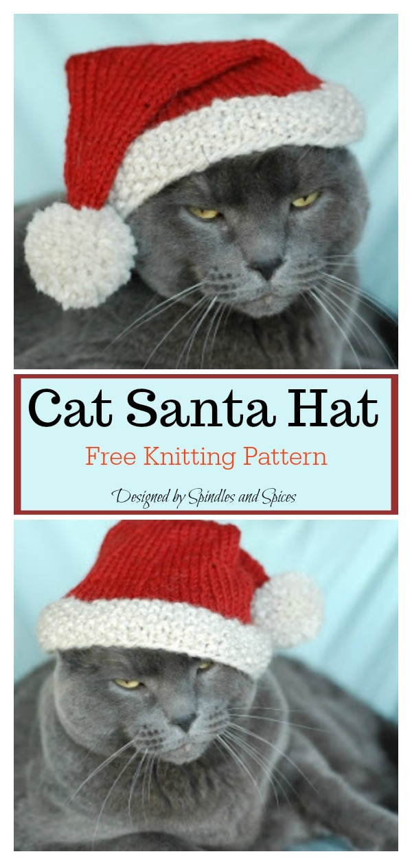 Cat Santa Hat Free Knitting Pattern