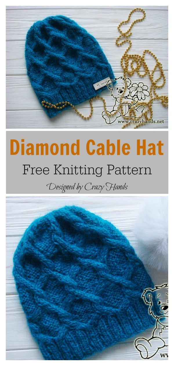 Diamond Cable Hat Free Knitting Pattern