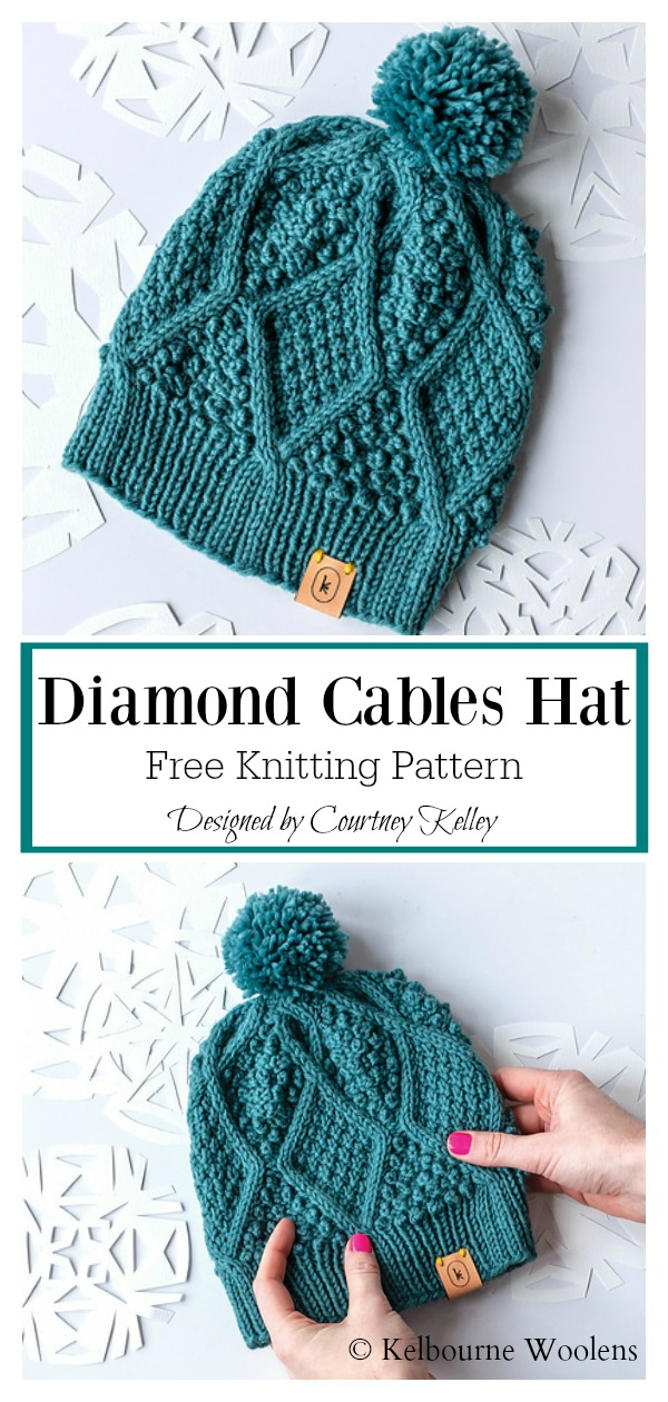Diamond Cables Beanie Hat Free Knitting Pattern