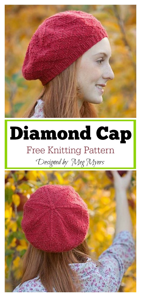 Diamond Cap Free Knitting Pattern