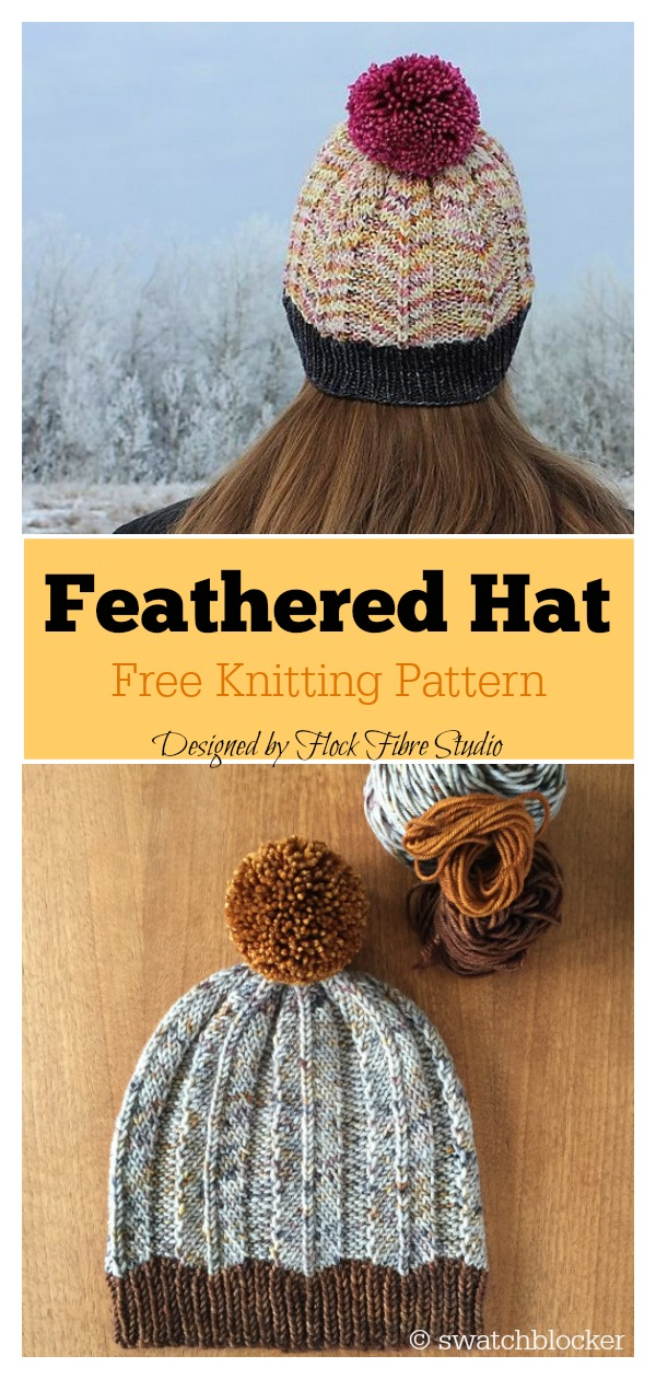 Feathered Hat Free Knitting Pattern
