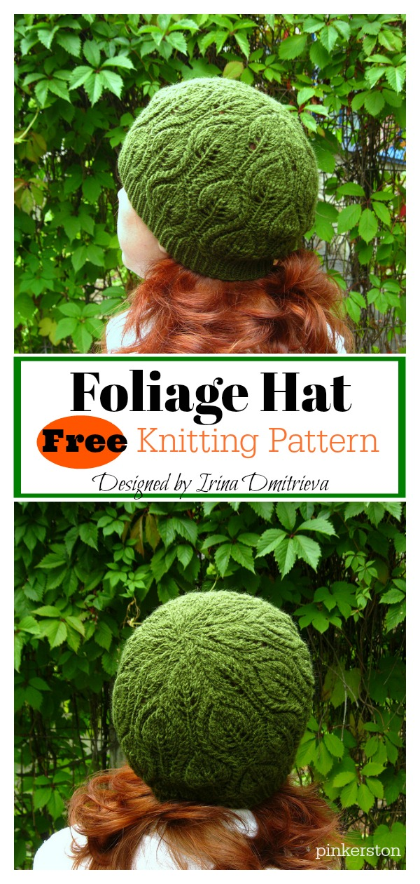 Foliage Hat Free Knitting Pattern