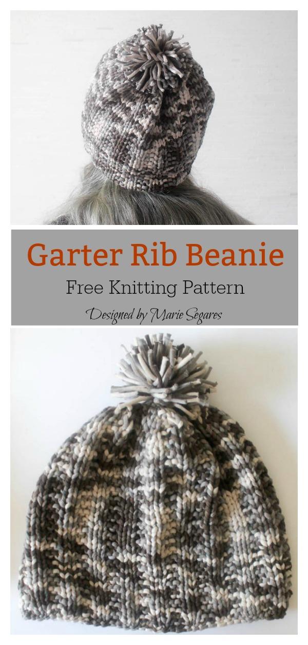 Garter Rib Beanie Free Knitting Pattern