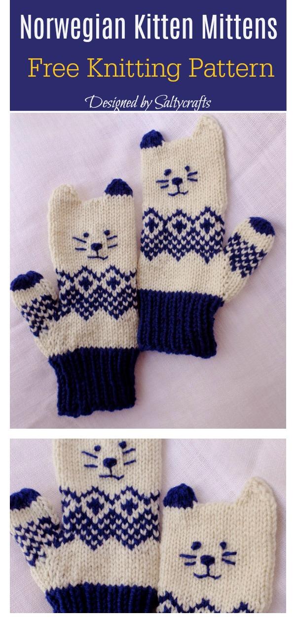 Kitten Mittens Free Knitting Pattern