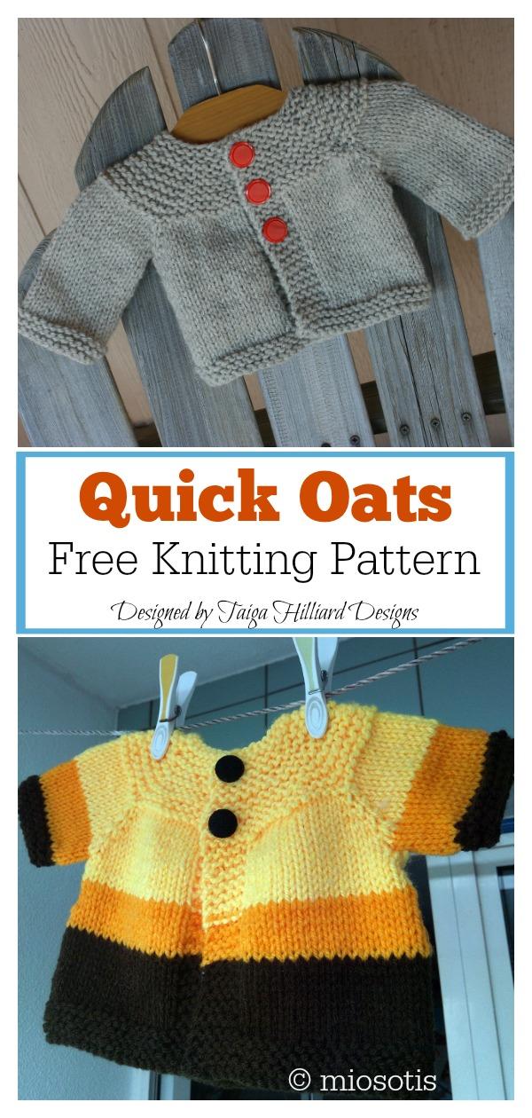 Quick Oats Baby Sweater Free Knitting Pattern