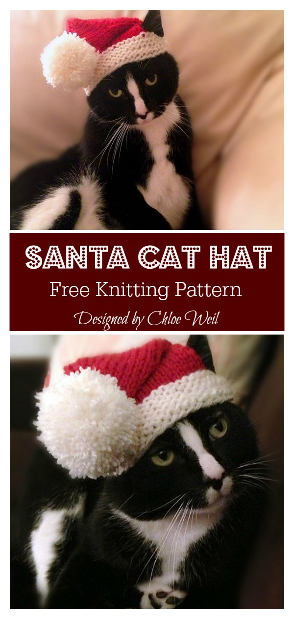 Santa Cat Hat Free Knitting Pattern