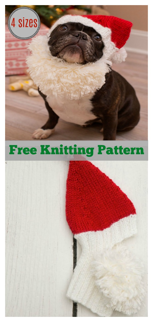 Santa Doggie Hat Free Knitting Pattern