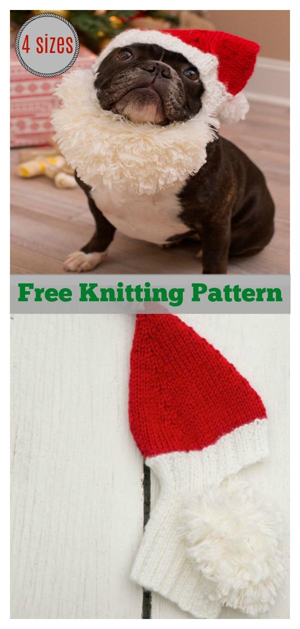 Pet Santa Hat Free Knitting Pattern