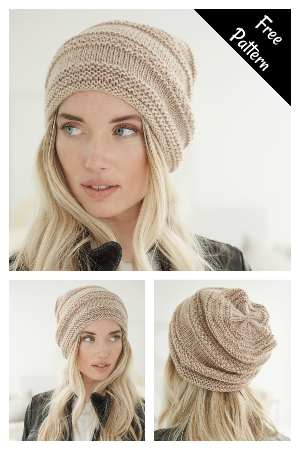 Simple Texture Slouch Hat Free Knitting Pattern