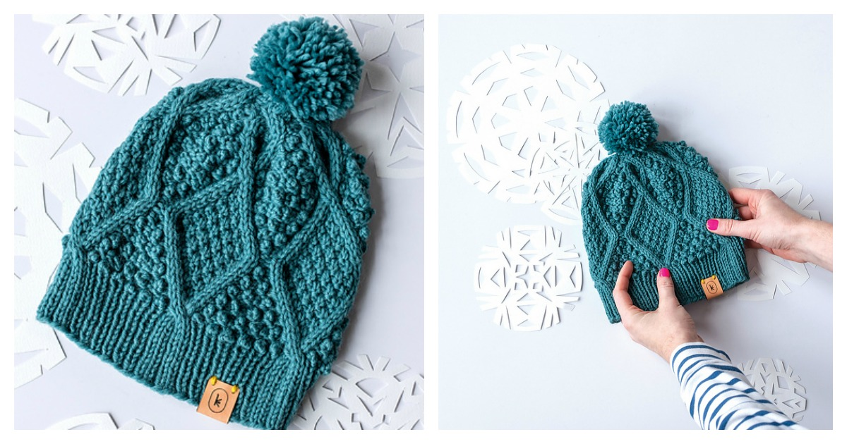 Diamond Design Beanie Knit Hat Skull Hat