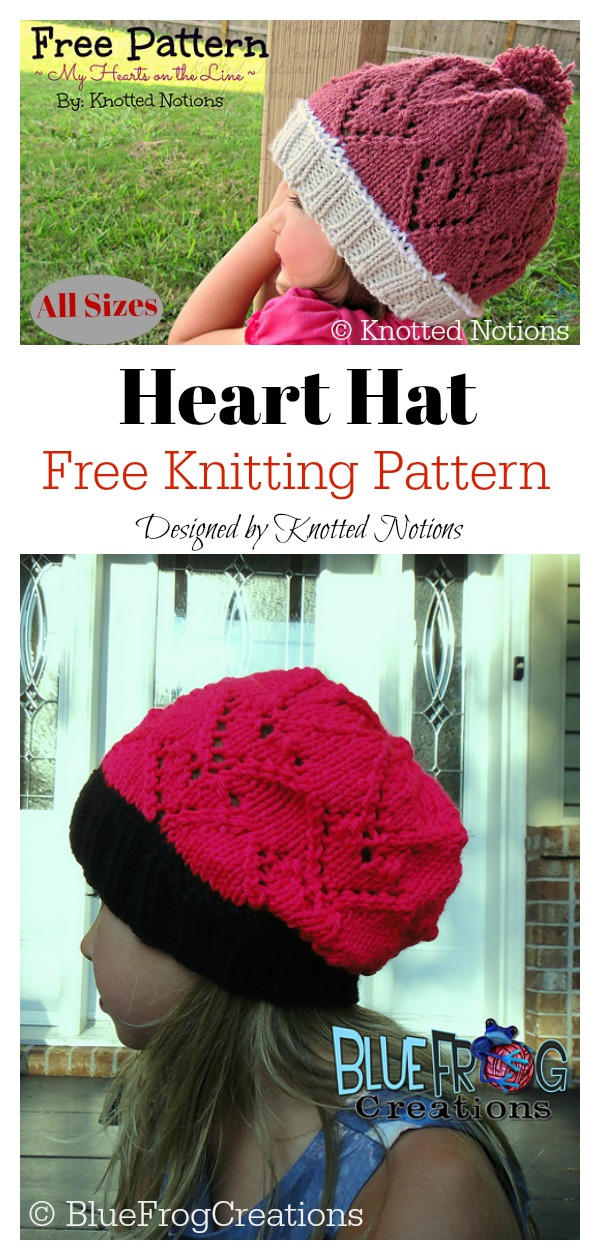 All Sizes Lace Hearts Beanie Hat Free Knitting Pattern