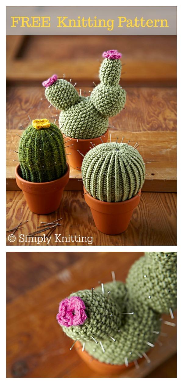 Cactus Pincushions FREE Knitting Pattern