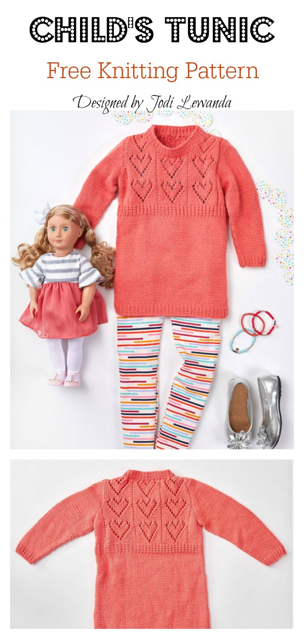 Child's Heart Yoke Tunic Free Knitting Pattern