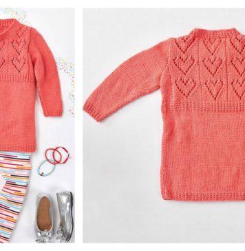 Child's Heart Yoke Tunic Free Knitting Pattern