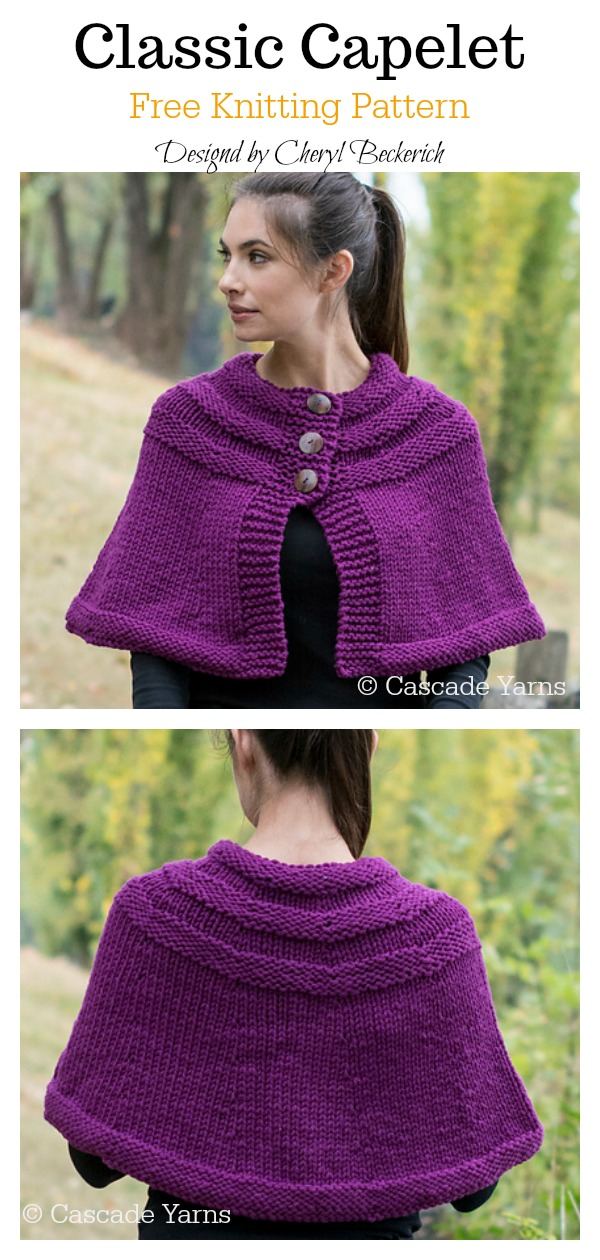 Classic Capelet Free Knitting Pattern