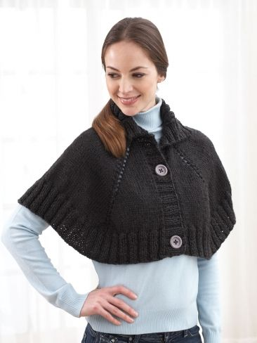 Midnight Rendezvous Capelet Free Knitting Pattern