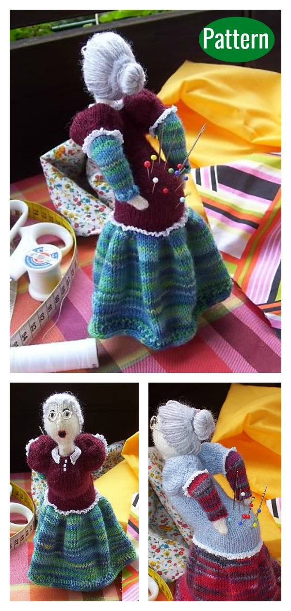 OUCH Old Lady Pincushion Knitting Pattern