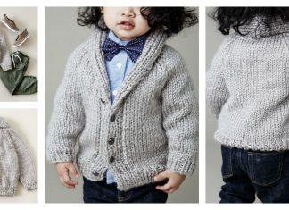 Shawl Collar Baby Cardigan Free Knitting Pattern