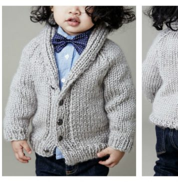 Shawl Collar Baby Cardigan Free Knitting Pattern