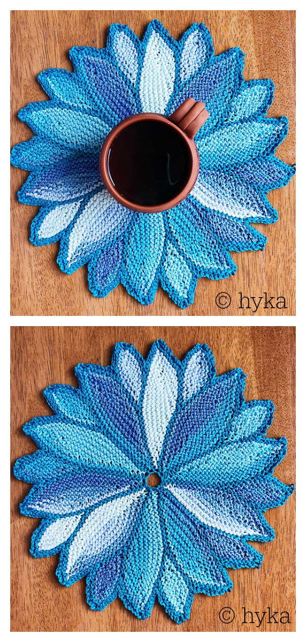 Water Lily Coaster Free Knitting Pattern