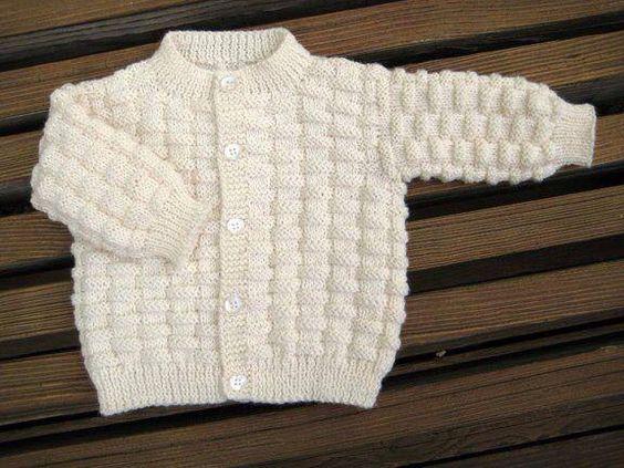 Basket Weave Baby Sweater FREE Knitting Pattern