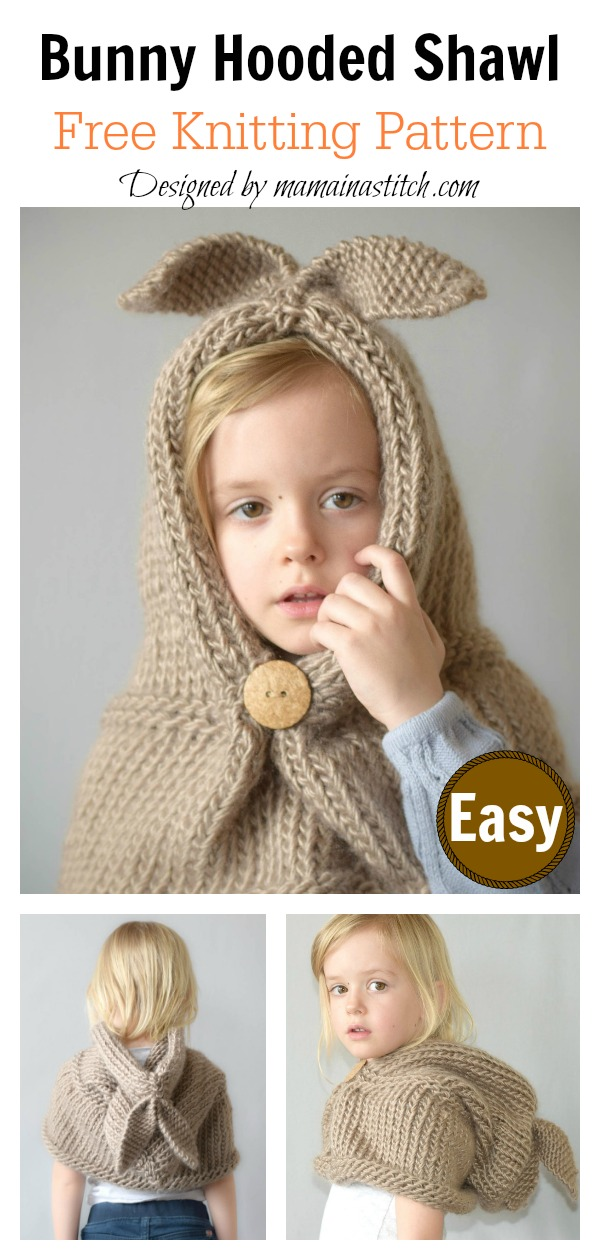 Bunny Hooded Shawl Free Knitting Pattern