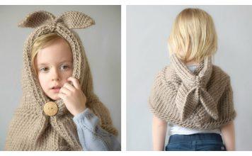 Bunny Hooded Shawl Free Knitting Pattern