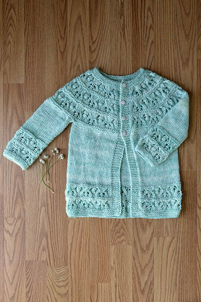 Cute as a Button Lace Baby Cardigan Free Knitting Pattern