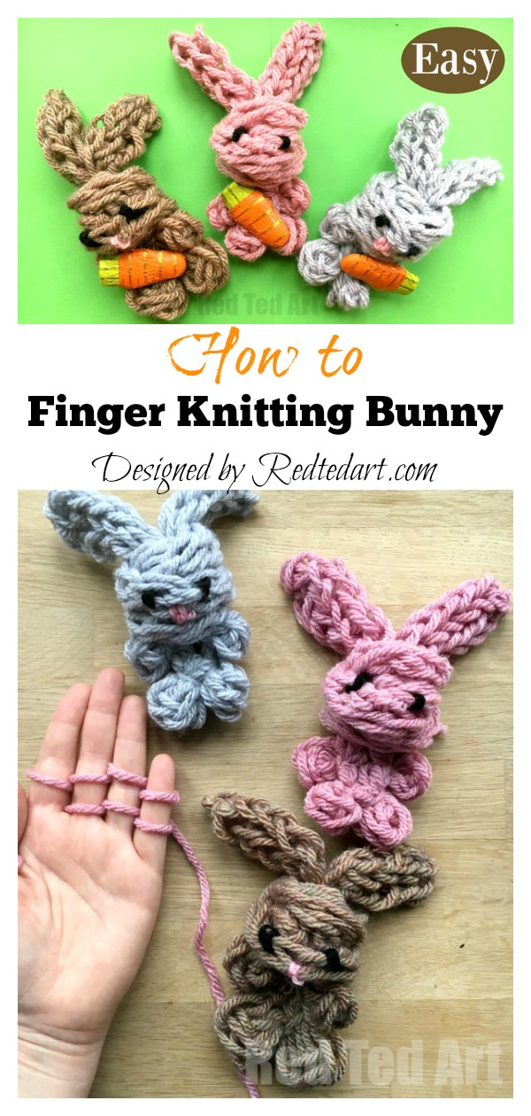 Easy Finger Knitting Easter Bunny Toy Video Tutorial