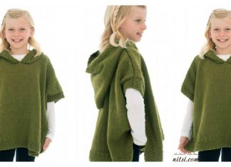 Girl Hooded Poncho Free Knitting Pattern