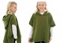 Girl Hooded Poncho Free Knitting Pattern