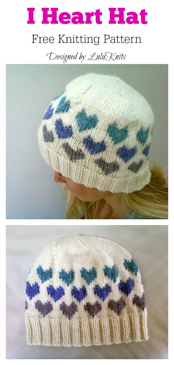 I Heart Hat Free Knitting Pattern